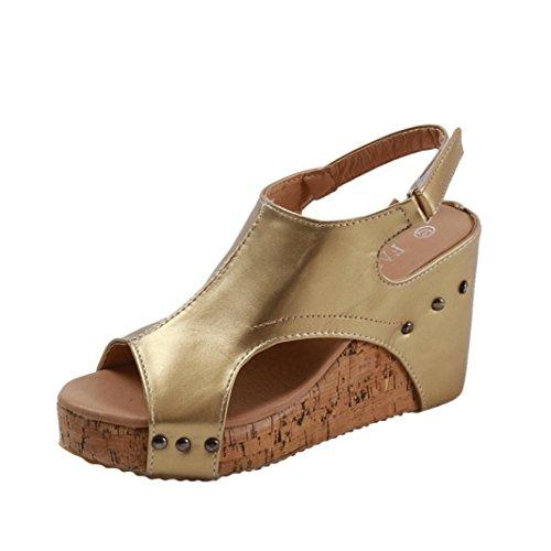 Chocolate Metallic Footwear - DEESEE(TM))Women Peep Toe Breathable Rivet Beach Sandals Boho Wedges Shoes (US:6)