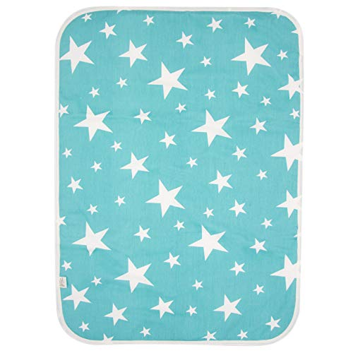 PEKITAS 2 Pack Waterproof Diaper Changing Pads Foldable Travel Friendly Soft Fabric 19.5 X 27.5 inches (Medium,0-1 Year),Stars Series