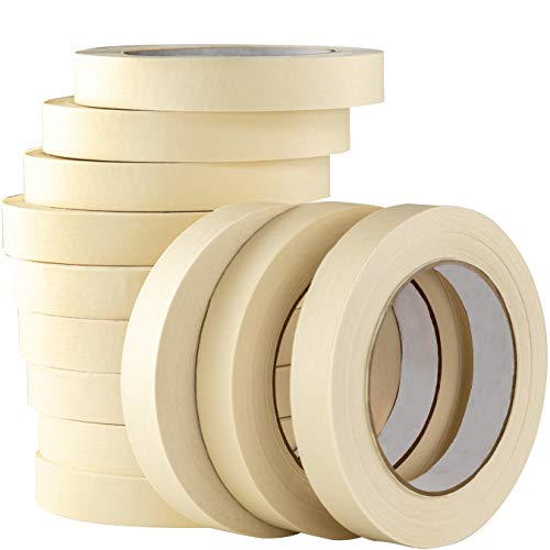 Professional Labeling - Nova Supply 3/4 in Pro-Grade Masking Tape. 60 Yard Roll 12 Pack = 720 Yards of Multi-Use, Easy Tear Tape. Great for Labeling, Painting, Packing and More. Adhesive Leaves No Residue.