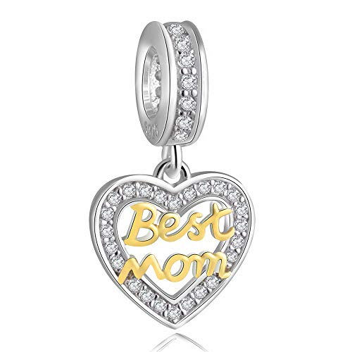 ZIYOU Best Mom Heart Bracelet Charms for Women - 925 Sterling Silver Dangle/Dangling Pendants/Beads - Fit Pandora Charm Bracelets, Necklaces, European Snake Chains - Mother's Day/Thanksgiving ()