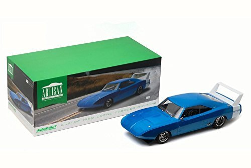 Custom 1969 Dodge Charger Daytona, Blue w/ white - Greenlight 19019 - 1/18 Scale Diecast Model Toy Car (Charger Scale 18 Diecast Dodge)
