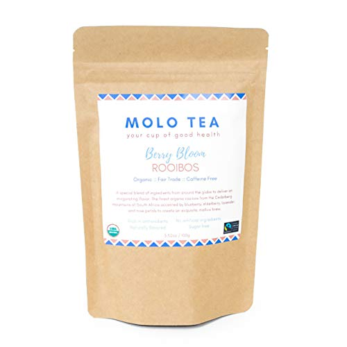 Rooibos Berry Bloom loose-leaf tea is 100% caffeine free, certified organic, great tasting, sugar free, rich in antioxidants and other health benefits, farm worker friendly.