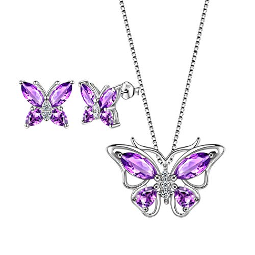 (Aurora Tears 925 Sterling Silver Purple Butterfly Jewelry Sets Women Crystal Animal Pendant/Earrings Sets Girls Cute Butterflies Necklace/Studs Sets for Engagement/Wedding/Dating/Party Gift DS0035W)