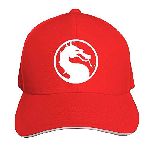 (ADBOSS Mortal Kombat Dragon Logo Adjustable Baseball Caps Vintage Sandwich Hat Sandwich Cap Peaked Trucker Dad Hats Red)