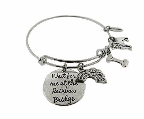 - Envious Gems Wait for Me at The Rainbow Bridge Pug Silver Tone Expandable Wire Bracelet