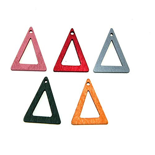 Monrocco 50Pcs Wooden Earrings Charm Pendants Triangle Charms Geometric Charms for Jewelry Making Accessories 25mmx20mm