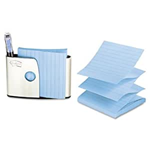 Post-it Pop-up Notes Dispenser with Lined Neptune Blue Notes, 4 x 4-Inches, Brushed Stainless Steel