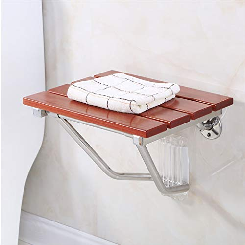 MMHJJ-Bath chair Wall-Mounted Folding Shower Seat Bench Bathroom Stool Sturdy Wide Seat for Bathroom and Household Use Wooden Waterproof by MMHJJ-Bath chair (Image #4)