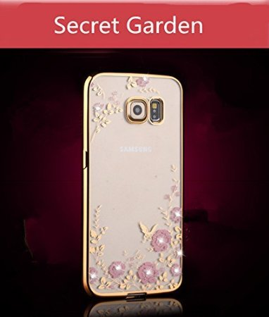Samsung Galaxy S7 Edge Case,Inspirationc [Secret Garden] Rose Gold and Pink TPU Plating Clear Shiny Cover Series for Samsung Galaxy S7 Edge--Swarovski