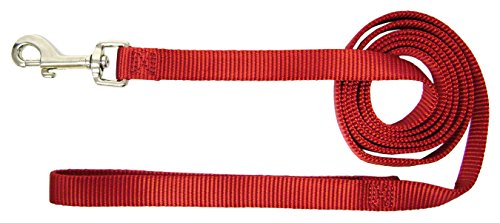 (Hamilton 6-Feet Long Single Thick Deluxe Nylon Lead with Swivel Snap, 5/8-Inch, Red)