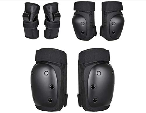 (Genma0 Knee Pads Elbow Pads Wrist Guards for Kids/Youth/Adults 3 in 1 Protective Gear Set for Multi Sports Skateboarding Inline Roller Skating Cycling Biking Indoor/Outdoor (Black,)