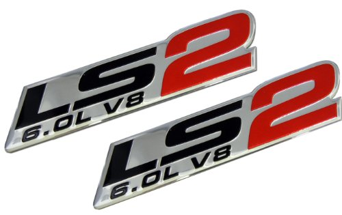 2x (pair/set) LS2 6.0L V8 Red Engine Emblems Nameplates Badges Highly Polished Aluminum Chrome Silver for GM General Motors Performance Chevy Chevrolet CHEVY CORVETTE SSR ZR1 2005 2006 05 06 PICK UP HOLDEN VAUXHALL CTSV Pontiac GTO Chevrolet Trailblazer SS 2006 2007 2008 2009 06 07 08 09 Saab 9-7X Aero