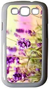Rikki KnightTM Beautiful Lavender Flowers On Blurred Background Design - White Hard Rubber TPU Case Cover for Samsung® Galaxy i9300 Galaxy S3
