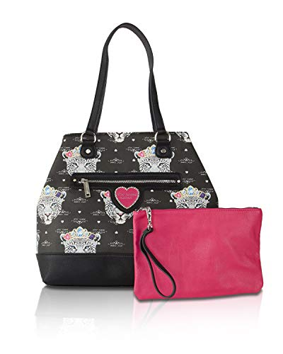 Betsey Johnson Snow Queen Of The Jungle Snap Trap Tote With Pouch Shoulder Bag - Black/Multi - Evening Betsey Johnson