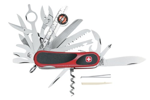 Wenger 16812 Swiss Army EvoGrip S54 Pocket Knife, Red and Black, Outdoor Stuffs