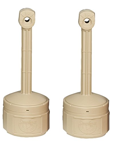 "Personal Smokers Cease Fire Polyethylene Cigarette Butt Receptacle YuZHEz, 1 Gallon Capacity, 11"" OD x 30"" Height, Adobe Beige, Pack of 2"