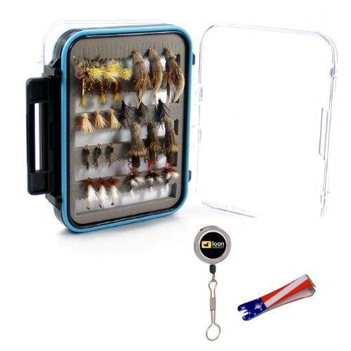 Deluxe Trout Fly Sortiment Zwei Dutzend Fliegen w 2 Werkzeuge und wasserdicht microslit Fly Box by the Fly Fischer-Ort