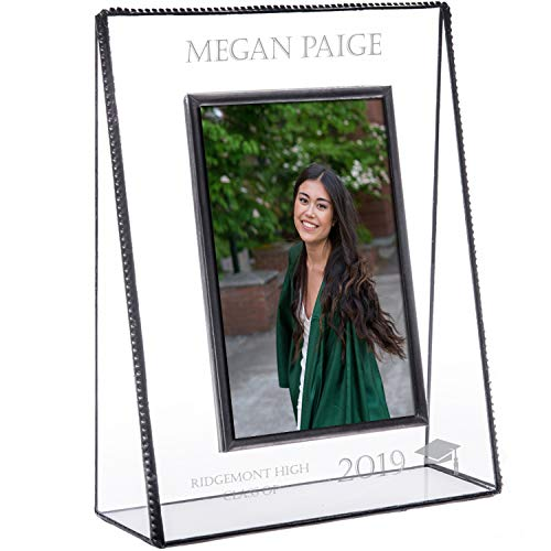 (J Devlin PIc 319-57V EP500 Personalized Graduation Picture Frame High School or College Graduate Gift Class of 2019 Engraved Glass Tabletop 5 x 7 Vertical Photo)