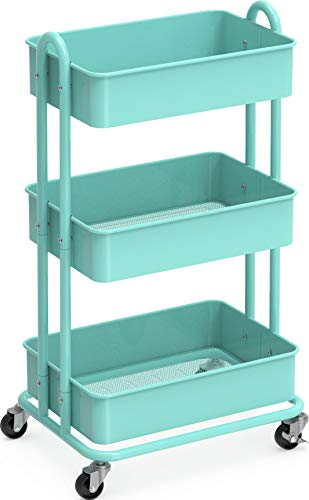 Image of SimpleHouseware Heavy Duty 3-Tier Metal Utility Rolling Cart, Turquoise