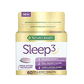 Nature's Bounty Sleep3, Tri-Layer Sleep Aid with Melatonin, L-Theanine, Chamomile and Lavender for Long Lasting Sleep and Occasional Sleeplessness, 60 Count