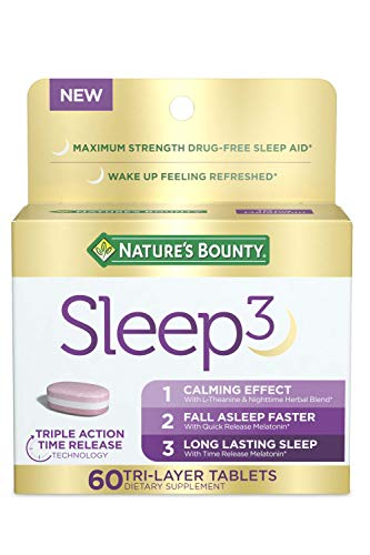 Melatonin by Nature's Bounty, Sleep3 Maximum Strength 100% Drug Free Sleep Aid, Dietary Supplement, L-Theanine & Nighttime Herbal Blend Time Release Technology, 10mg, 60 Tri-Layered Tablets