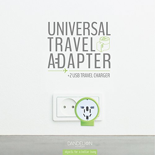 Dandelion Travel adapter Outlet adapter travel accessory with dual USB ports Universal Charger (UK, US, AU, Europe & Asia) International Power Plug Adapter with safety fuse - great travel gift (Green) by Dandelion (Image #7)