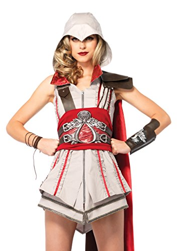 Leg Avenue Women's Assassin's Creed 4 Piece Ezio Deluxe Costume Cosplay, Grey/Red, Medium - Ezio Costume Cosplay