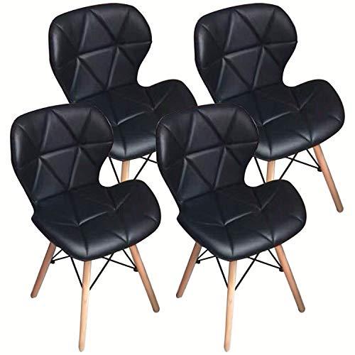 Nicemoods Set de 4 sillas de Comedor, Madera de Comedor con Asiento comodo Acolchado para Silla Moderna de Oficina en el hogar(Negro)