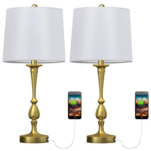 Oneach USB Table Lamp Set of 2 for Bedroom Modern Bedside Desk Lamp with USB Port for Living Room Coffee Table Antique Brass