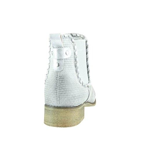 Angkorly - Chaussure Mode Bottine chelsea boots cavalier bi-matière femme tréssé clouté Talon bloc 3.5 CM - Gris