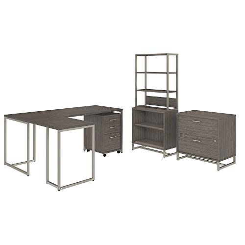 Office by kathy ireland Method 72W L Shaped Desk with 30W Return, File Cabinets and Bookcase in Cocoa