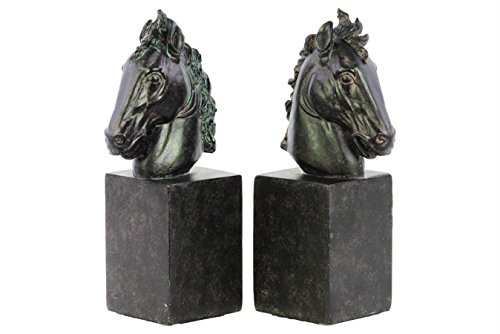 Urban Trends Collection 73150-AST 4 Piece Matte Espresso Brown Resin Horse on Rectangular Standing Bits Bookend Assortment44; Set of Two - 3.00 x 3.00 x 9.50 (Standing Horse Bookends)