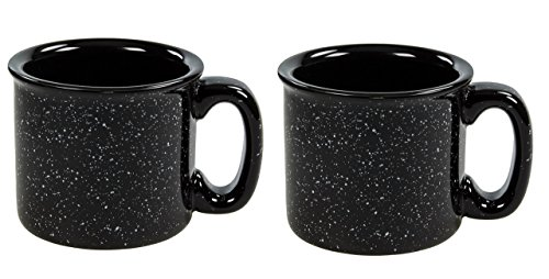 Black Speckled - Santa Fe Campfire Coffee & Tea Mug Perfect For Camping or Home , Black 15oz (Pack of 2)