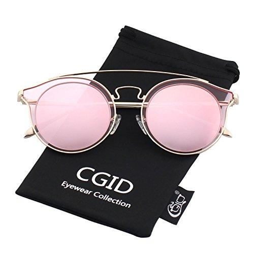 CGID MJ78 Womens Fashion Double Metal Bridge Crossbar Round Polarized Sunglasses UV400 Mirrored - Country Cross Sunglasses