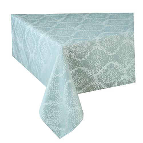 Jinlei Tablecloth for Kitchen Spill Proof Waterproof Dust-Proof Damask Jacquard Table Fabric Cover Rectangle/Oblong 52 x 70 inches Light Blue