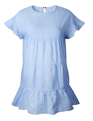 Cruiize Femmes À Carreaux Ras Du Cou Tunique Plissée Volantée T-shirt Robe De Soleil 2