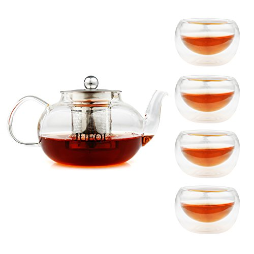 JUEQI Teapot Kettle ( Microwavable and Stovetop Safe ) with 4 Double Wall Glass Tea Cup ( 2 oz ) - Tea Pot and Stainless Steel Tea Strainer Set - Tea Infuser Holds 28 Ounce ( 800 ml ) for Loose Tea