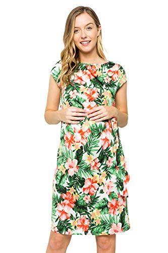 My Bump Women's Side Bow Tie Pattern Cap Sleeve Maternity Dress(Made in USA)(Ivory_Green SYAA, X-Large) ()