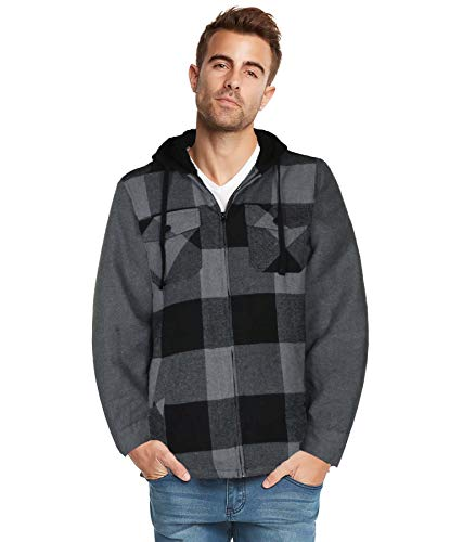 9 Crowns Essentials Sherpa Lined Plaid Flannel Hoodie Jacket-Blk/Char-X-Large