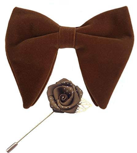 Mens Pre-Tied Oversized Velvet Bow Tie with Flower Lapel Pin Brooch for Suit Wedding Tuxedo Bowtie Set ()