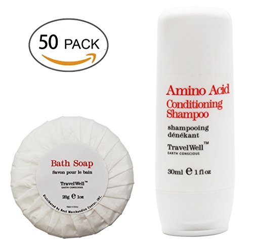 Cheap TRAVELWELL Hotel Shampoo and Soap Bulk Individually Wrapped 30ml Shampoo & Conditioner 2 in 1, 50 Bottles + Round Tissue Pleated 28g Cleaning Travel Soap In Bulk, 50 Bars