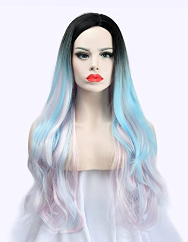 SEIKEA 30'' Long Wavy Wig Cosplay Costume Part Side for Women Black Root Natural Hair Night Party Makeup - Lovely Pink with Light Sky Blue