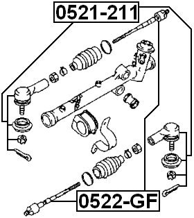 Buy febest ge4t32240a axial joint rack end for mazda