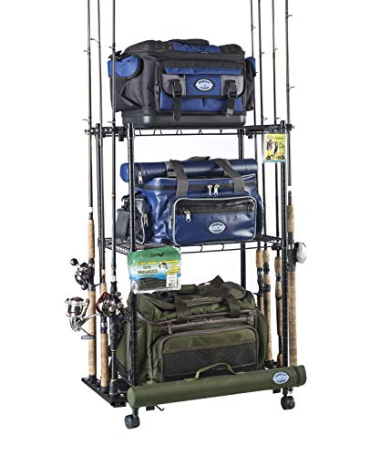 Organized Fishing Adjustable 3-Shelf Rolling Tackle Trolley for Fishing Tackle Storage, Holds up to 12 Fishing Rods, WFR-012