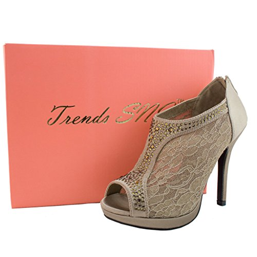 Toe Heel High Trends Peep Shootie Women's SNJ Lace Brown Platform Bridal w86nq44XI