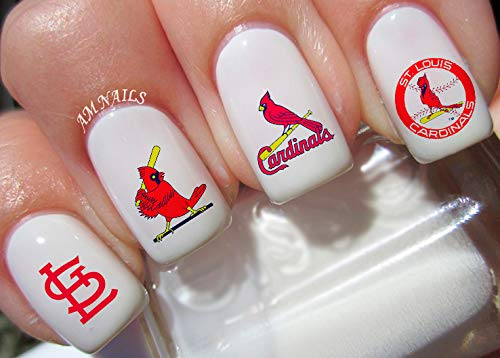 St Louis Cardinals Water Nail Art Transfers Stickers Decals - Set of 50 ()