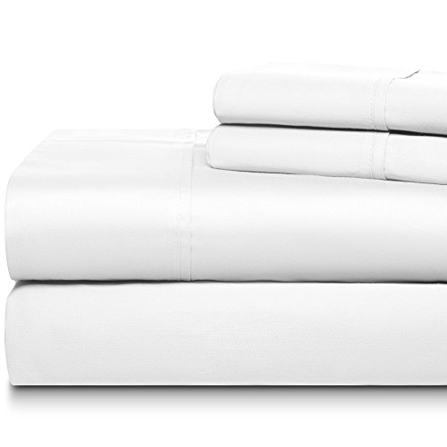 DREAM CASTLE 500 Thread Count 100% Cotton Sheet Set,Soft Sateen Weave,King Sheet,Deep Pockets,Hotel Collection,Luxury Bedding Super Sale 100% Cotton,Bright White Linen
