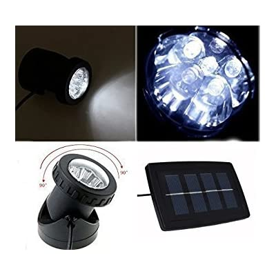 Coolbuy112 Solar Power 12 LEDs Landscape Spotlight Projection Light with 2 Submersible Lamps for Garden Pool Pond Outdoor Decoration & Lighting Underwater Light, White: Home & Kitchen