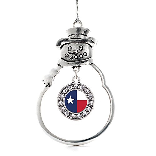 Inspired Silver - Texas Flag Charm Ornament - Silver Circle Charm Snowman Ornament with Cubic Zirconia Jewelry]()