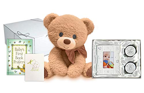 Baby Gift Set - Keepsake Teddy Bear, First Book of Prayers, Photo Frame First Hair and Tooth Set and Handmade Card for Baby Boy or Girl